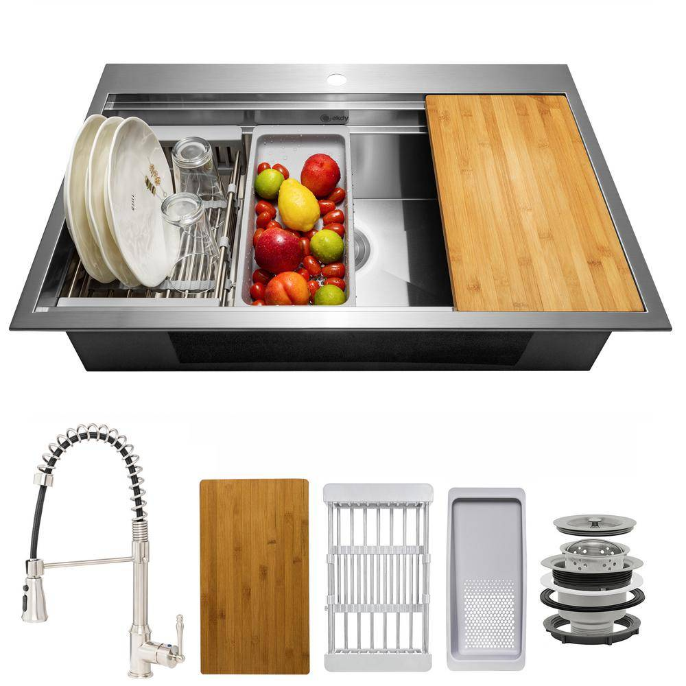 AKDY Handmade All-in-One Topmount Stainless Steel 33 in. x 22 in. Single Bowl Kitchen Sink w/ Spring Neck Faucet, Accessory, Brushed Stainless Steel