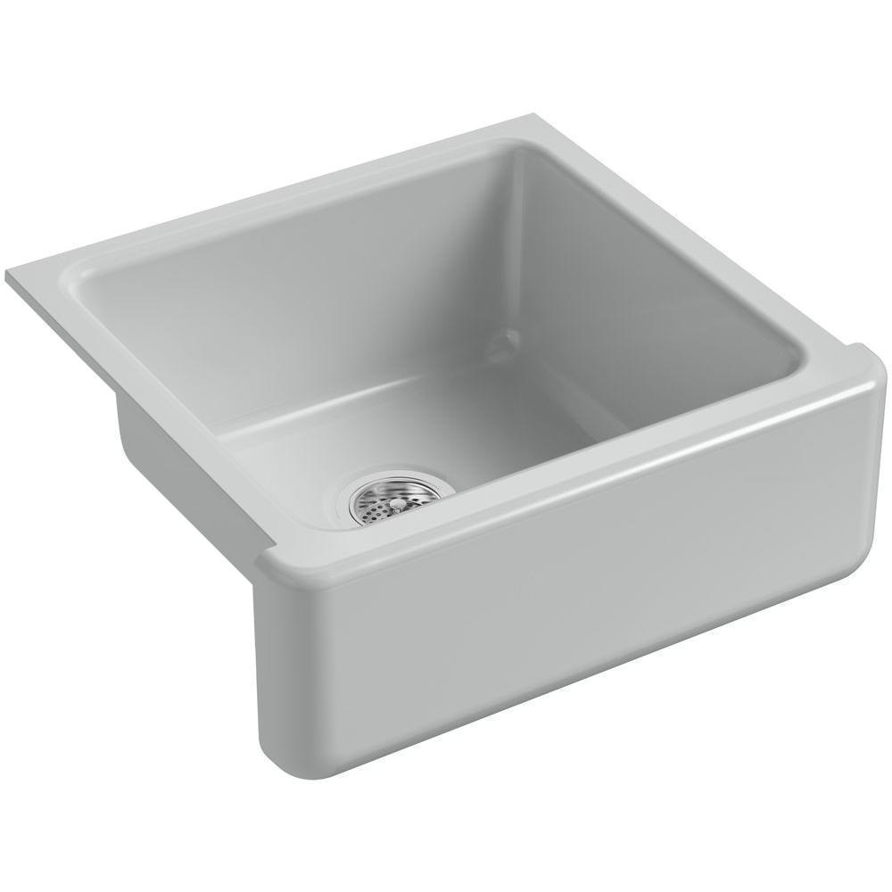 KOHLER Whitehaven Farmhouse Apron-Front Cast Iron 24 in. Single Basin Kitchen Sink in Ice Grey