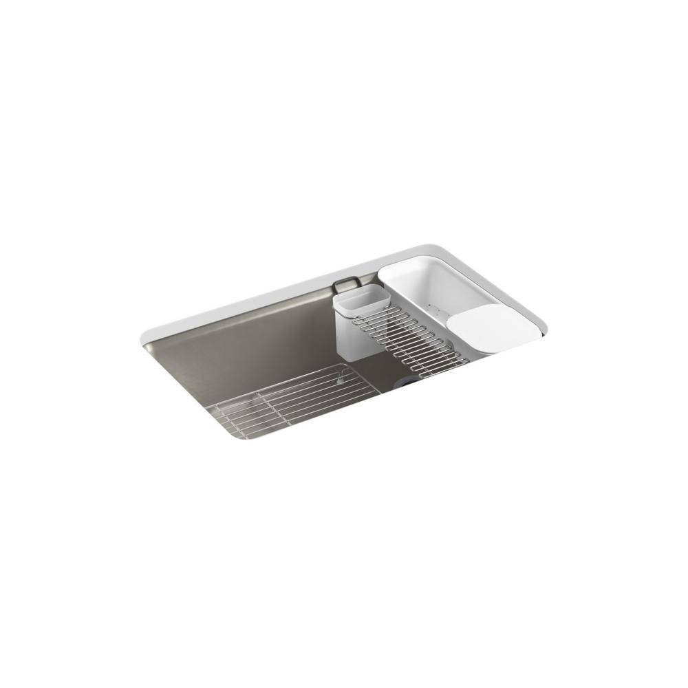 KOHLER Riverby Undermount Cast-Iron 33 in. 5-Hole Single Bowl Kitchen Sink Kit with Accessories in Cashmere