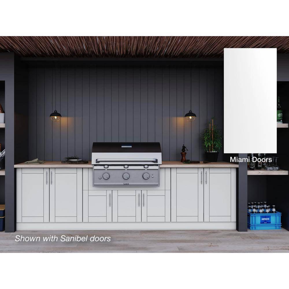 WeatherStrong Miami Shell White 17-Piece 121.25 in. x 34.5 in. x 28 in. Outdoor Kitchen Cabinet Set