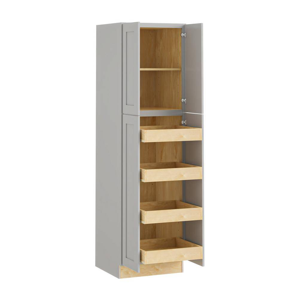 Home Decorators Collection Tremont Assembled 24x84x24 in. Plywood Shaker Utility Kitchen Cabinet Soft Close 4 rollouts in Painted Pearl Gray, Gray Painted