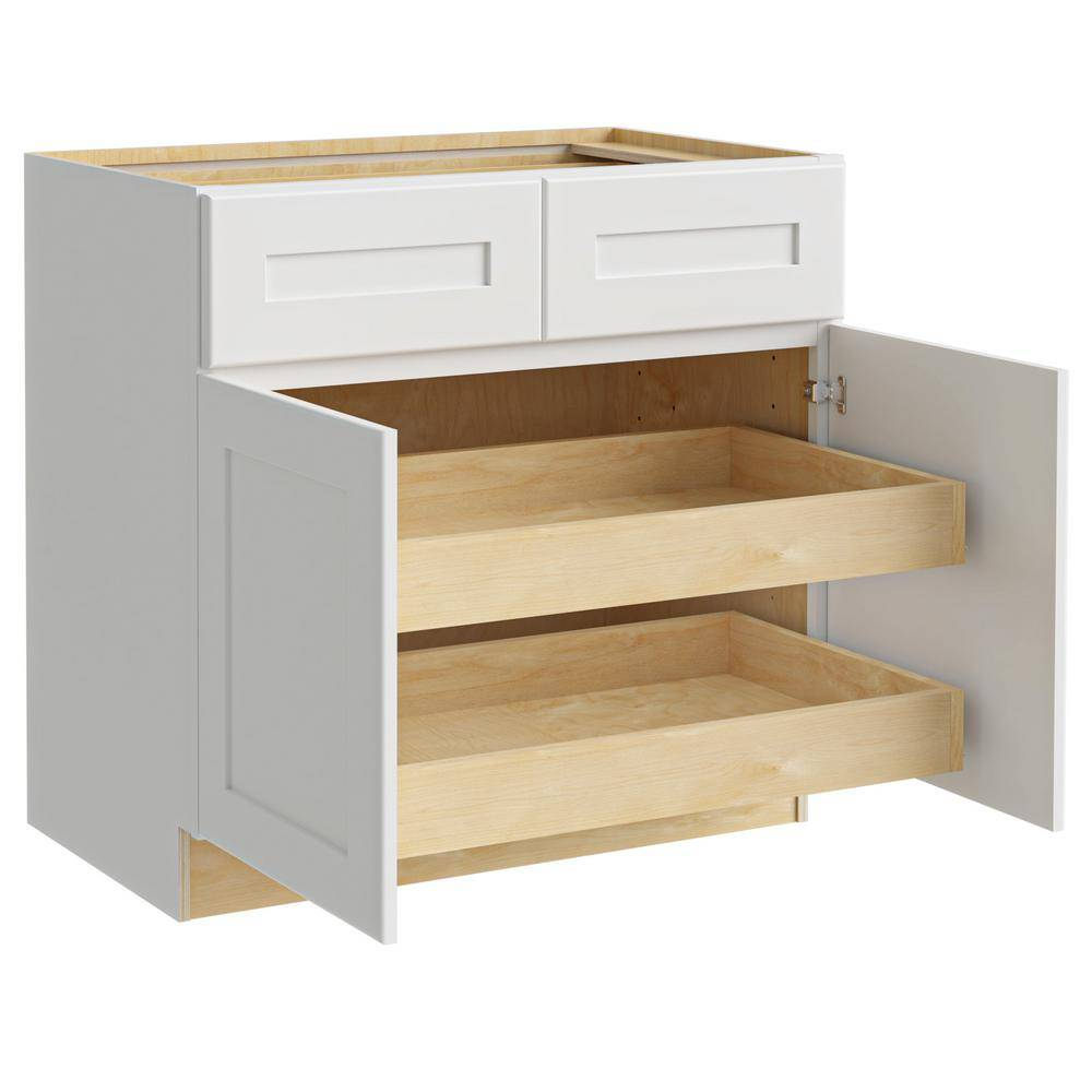 Home Decorators Collection Newport Assembled 33x34.5x24 in. Plywood Shaker Base Kitchen Cabinet 2 rollouts Soft Close in Painted Pacific White, Pacific White Painted