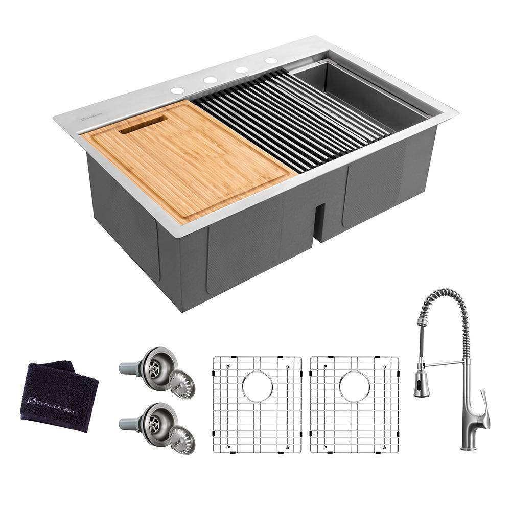 Glacier Bay All-in-One Drop-In Stainless Steel 33 in. 4-Hole 50/50 Double Bowl Workstation Sink with Faucet and Accessories Kit, Brushed Stainless Steel