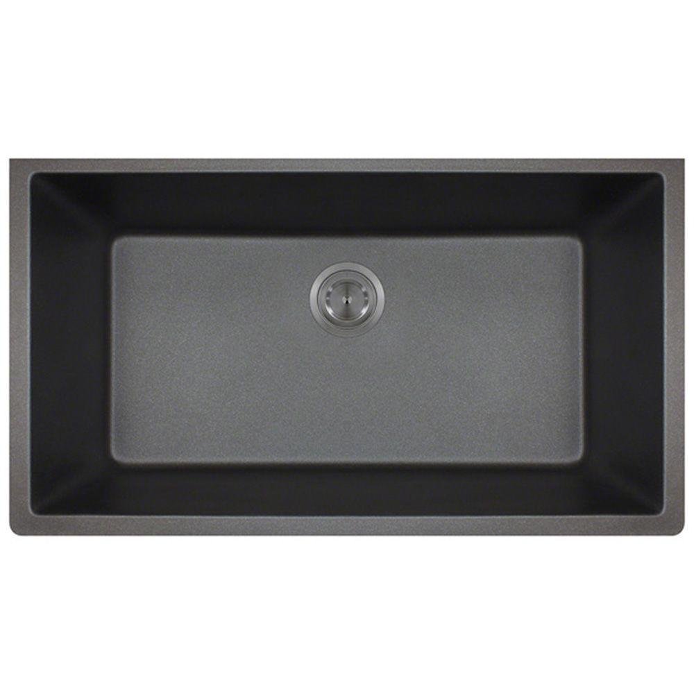 Polaris Sinks Undermount Granite 33 in. Single Bowl Kitchen Sink in Black