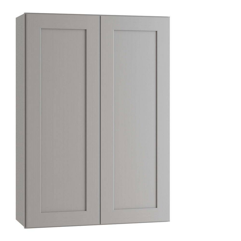 Home Decorators Collection Tremont Assembled 30 x 42 x 12 in. Plywood Shaker Wall Kitchen Cabinet Soft Close in Painted Pearl Gray, Gray Painted