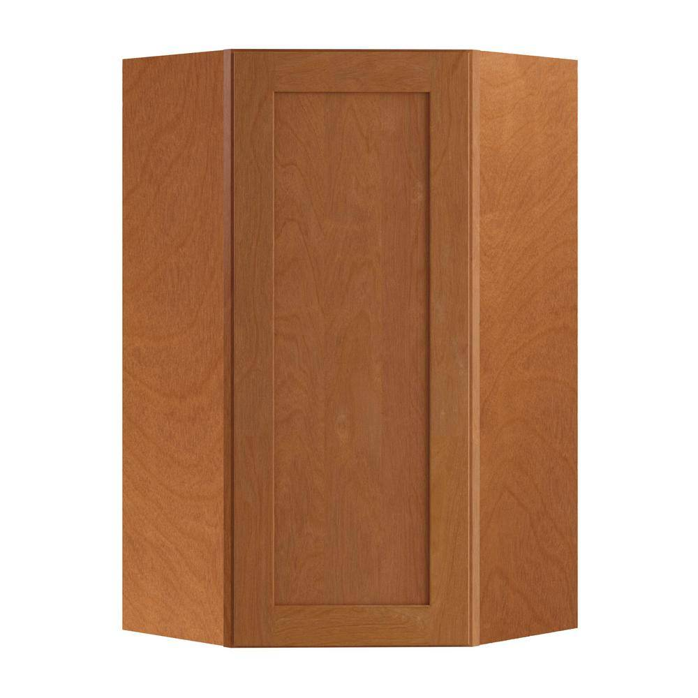Home Decorators Collection Hargrove Assembled 24x42x12 in. Plywood Shaker Wall Angle Corner Kitchen Cabinet Soft Close Right in Stained Cinnamon, Red