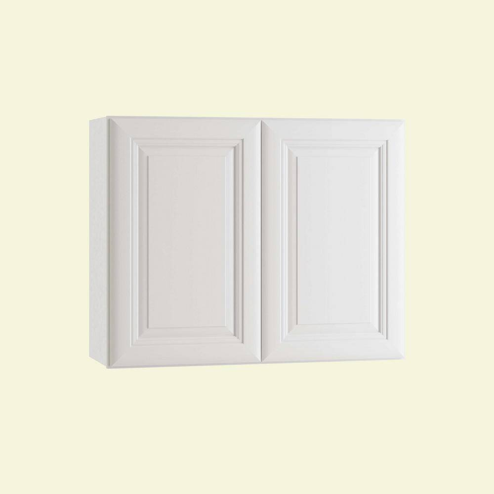 Home Decorators Collection Brookfield Assembled 36 x 24 x 12 in. Plywood Mitered Wall Kitchen Cabinet Soft Close in Painted Pacific White