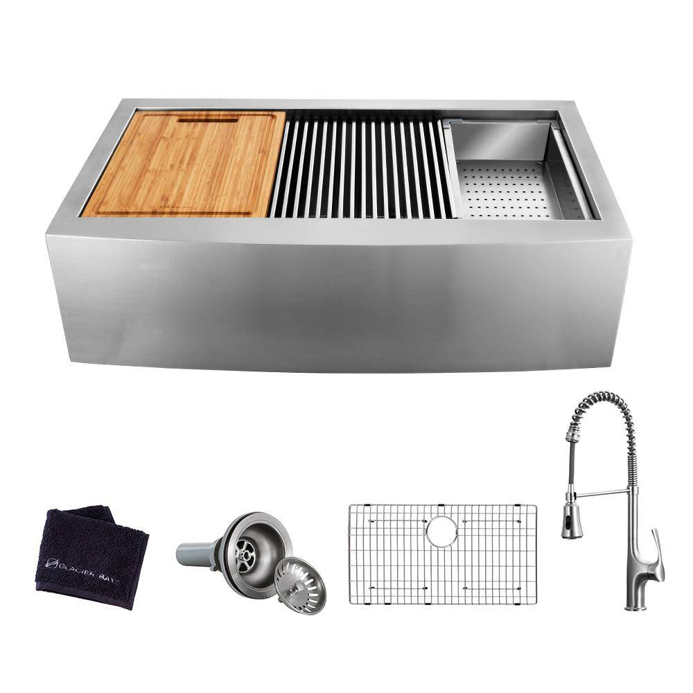 Glacier Bay All-in-One Apron-Front Farmhouse Stainless Steel 30 in. Single Bowl Workstation Sink with Faucet and Accessories, Brushed Stainless Steel