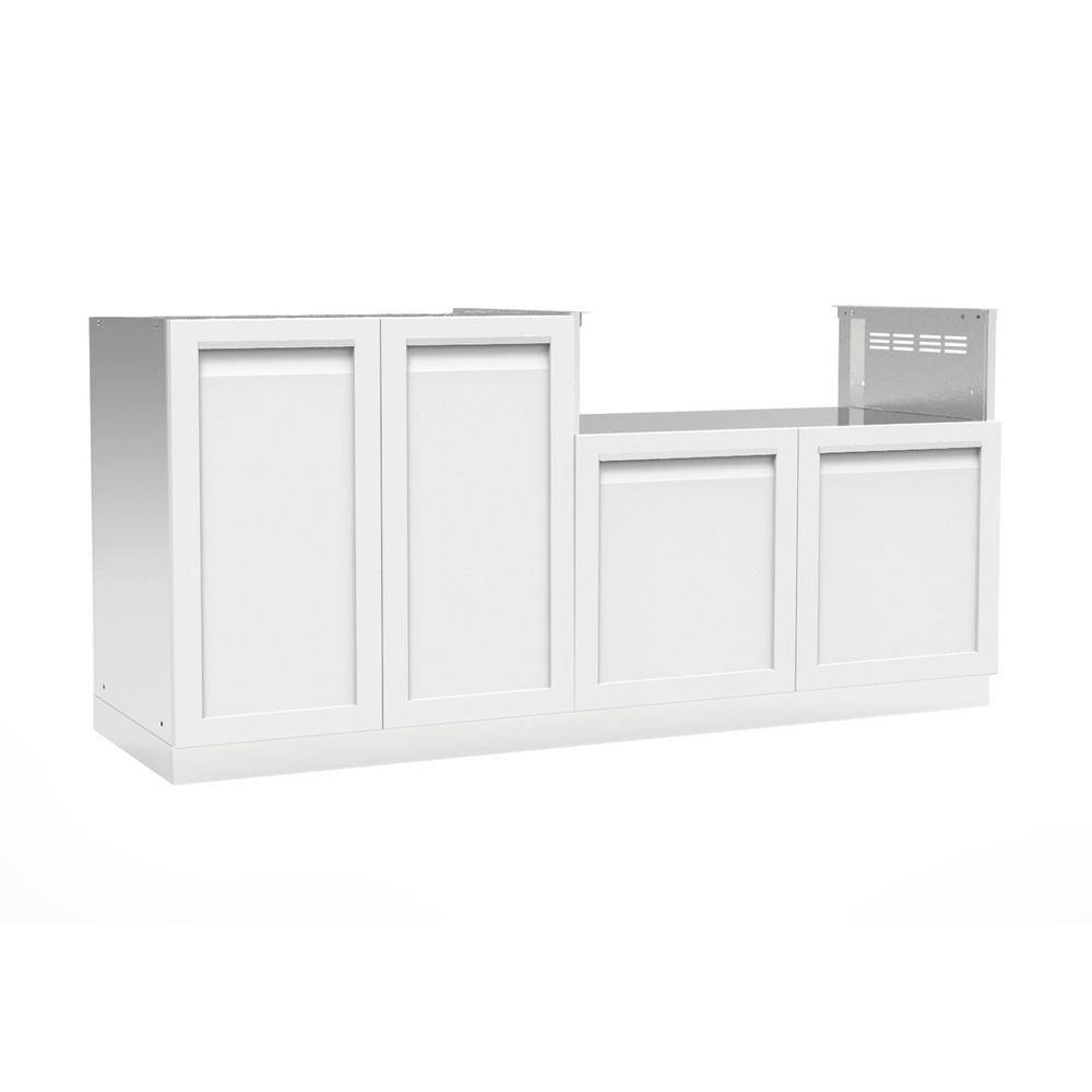 4 Life Outdoor Stainless Steel 2-Piece 72x35x22.5 in. Outdoor Kitchen Cabinet Set with Powder Coated Doors in White