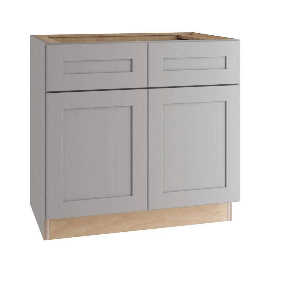 Home Decorators Collection Tremont Assembled 36 x 34.5 x 24 in. Plywood Shaker Base Kitchen Cabinet Soft Close Doors/Drawers in Painted Pearl Gray, Gray Painted