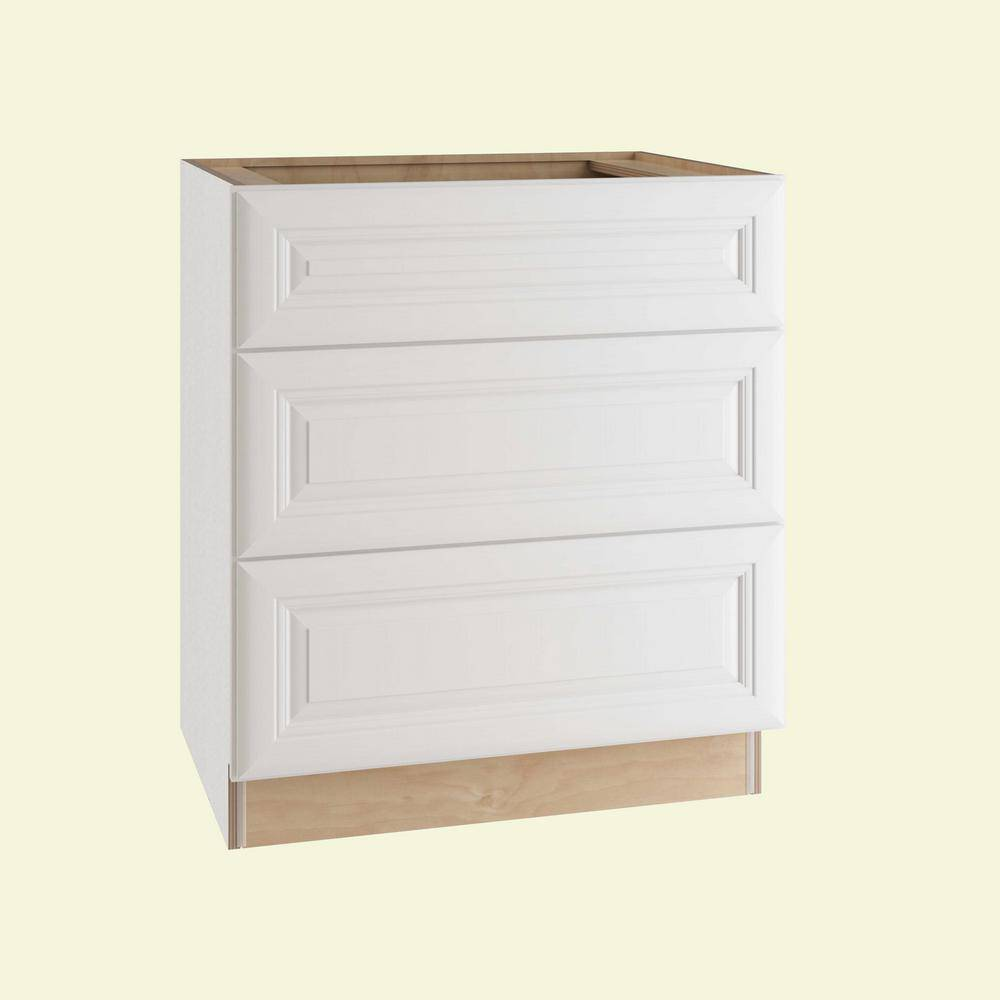 Home Decorators Collection Brookfield Assembled 30x34.5x24 in. Plywood 3 Drawer Base Kitchen Cabinet Soft Close Drawers in Painted Pacific White