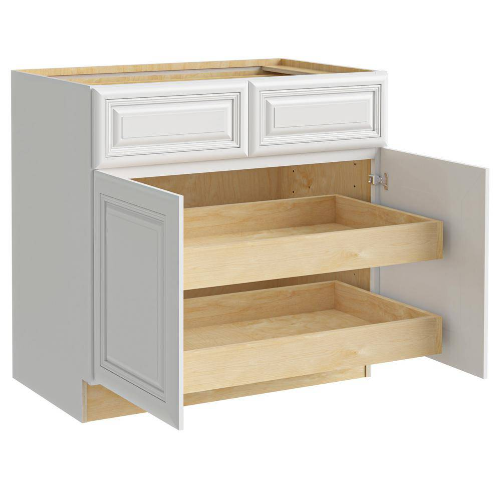 Home Decorators Collection Brookfield Assembled 36x34.5x24 in. Plywood Mitered Kitchen Cabinet 2 rollouts Soft Close in Painted Pacific White