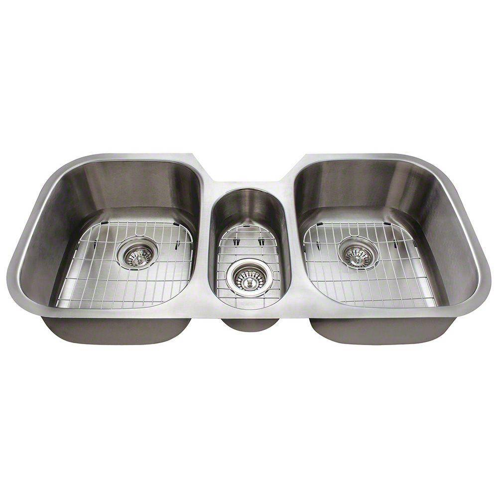 Polaris Sinks Undermount Stainless Steel 43 in. Triple Bowl Kitchen Sink with Additional Accessories, Silver