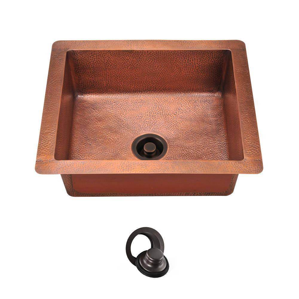MR Direct Undermount Copper 25 in. Single Bowl Kitchen Sink with Flange, Brown