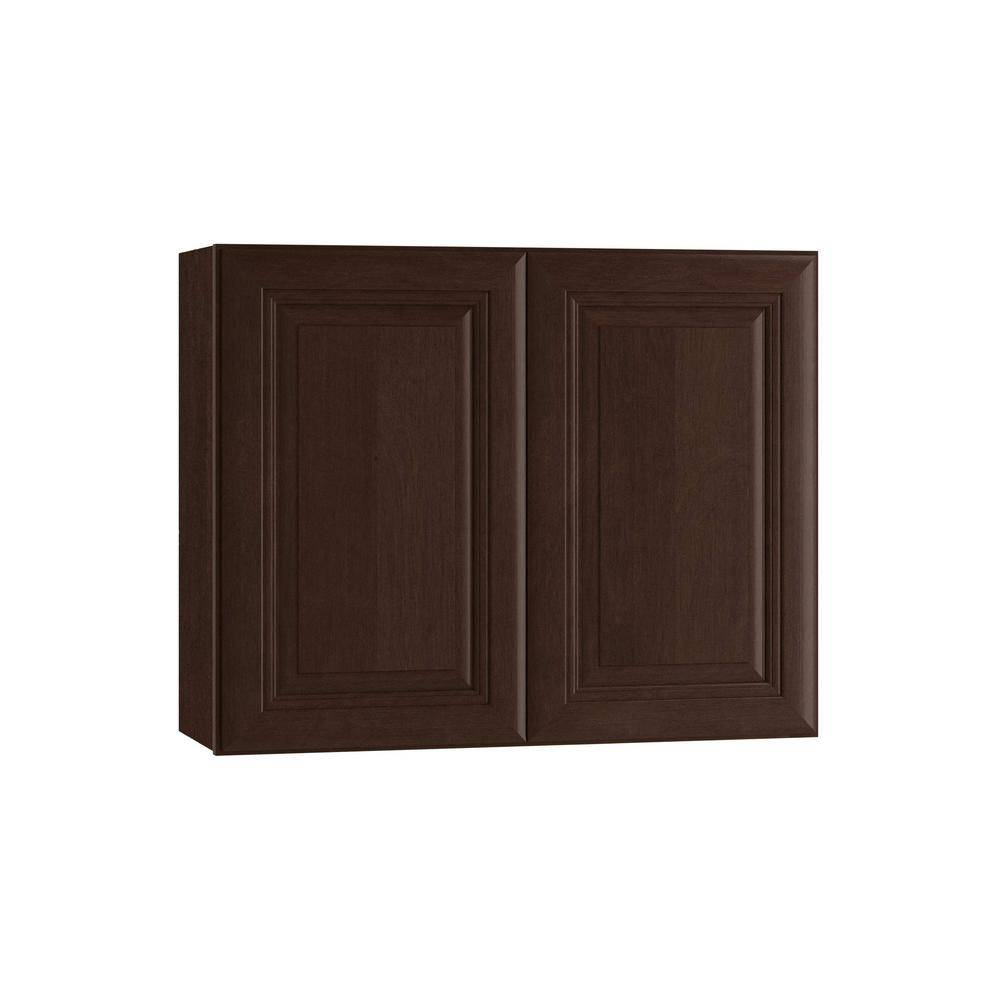 Home Decorators Collection Roxbury Assembled 36 x 24 x 12 in. Plywood Mitered Wall Kitchen Cabinet Soft Close in Stained Manganite, Manganite Glaze
