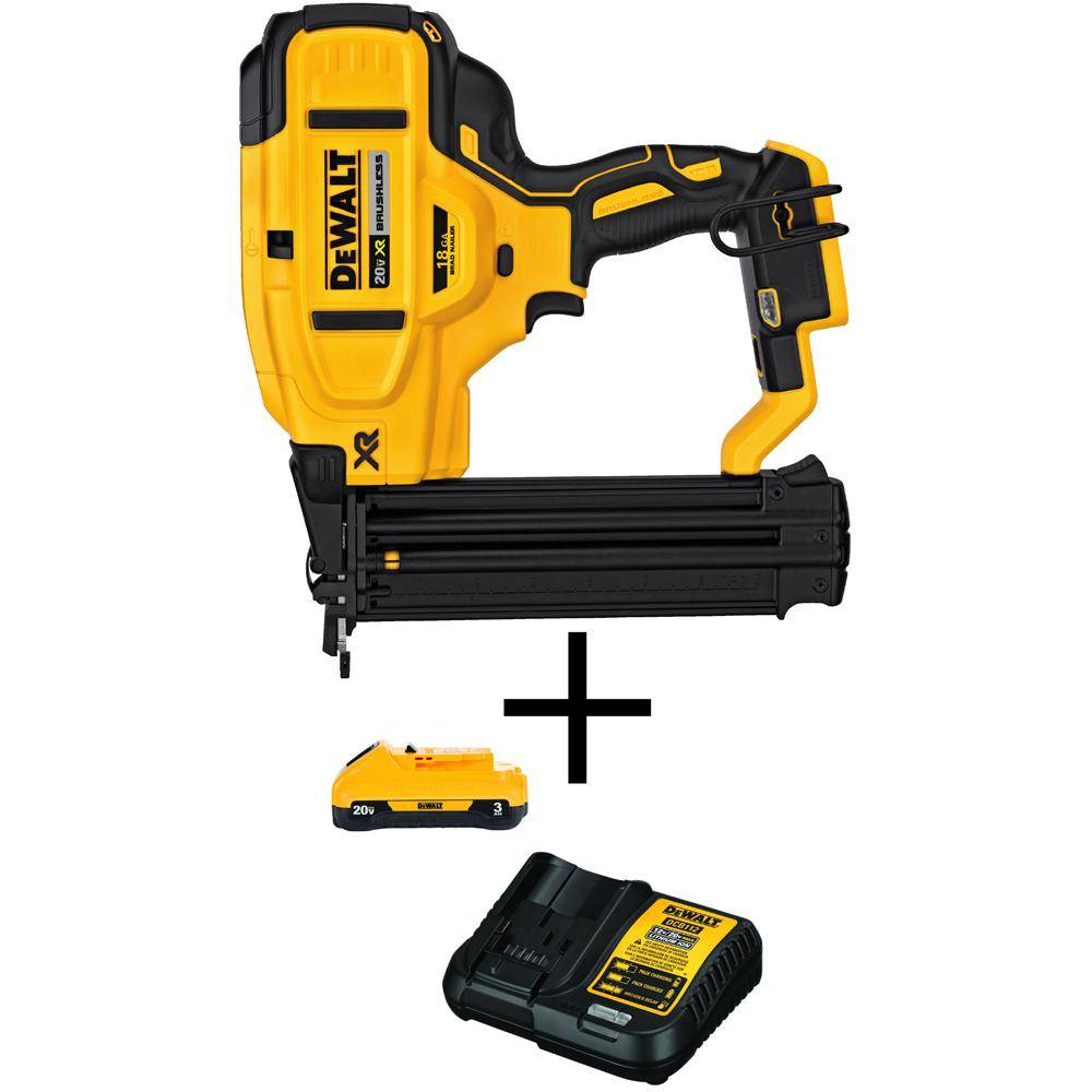 DEWALT 20-Volt MAX 18-Gauge Nailer (Tool Only) with Bonus 3AH Battery Pack and Charger