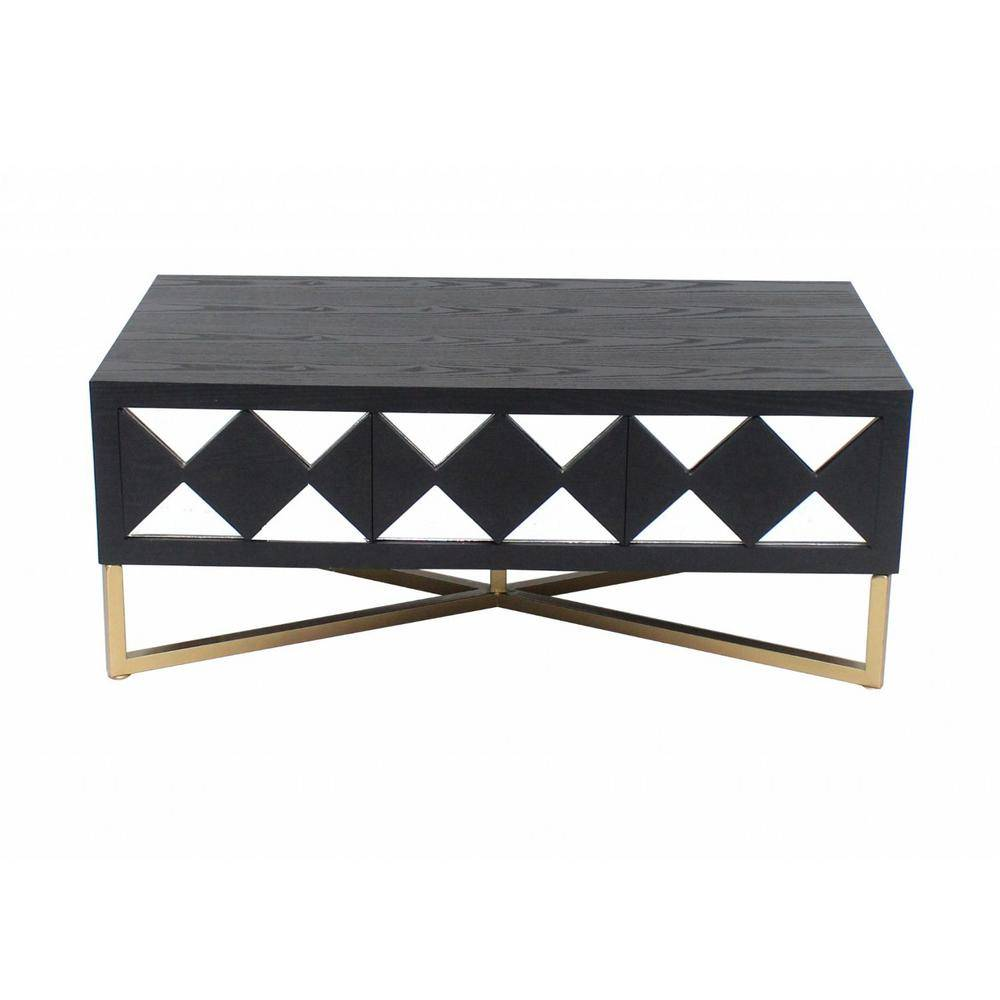 HomeRoots Mariana 24 in. Black/White/Gold Rectangle Mirrored Console Table with Drawers