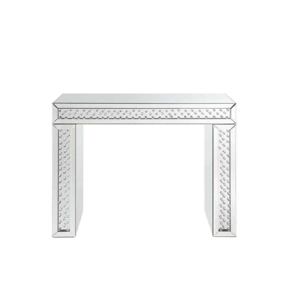 Benjara Silver Mirror Accented Wood and Glass Vanity Desk with Faux Crystal Inlay