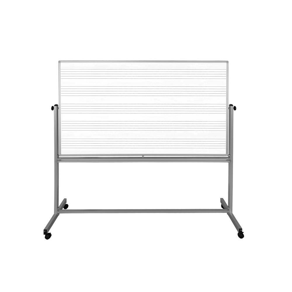 Luxor 72 in. x 48 in. Mobile Double Sided Music Whiteboard