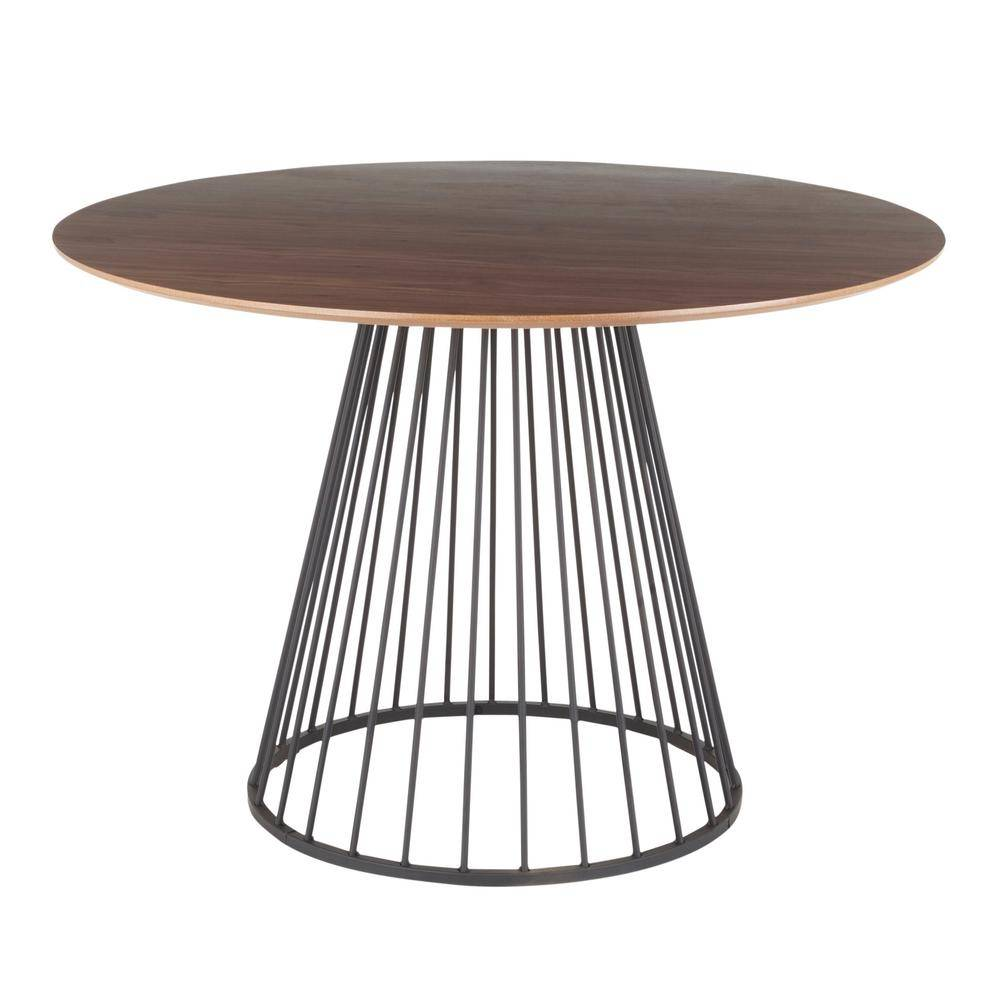 Lumisource Canary Walnut and Black Round Dining Table, Walnut Wood/Black Metal