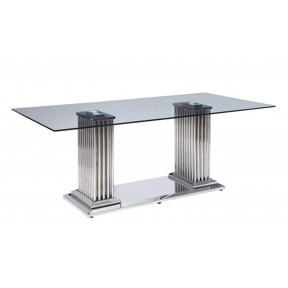 HomeRoots Amelia Clear Metal/Wood Dining Table for (Seats of 6)