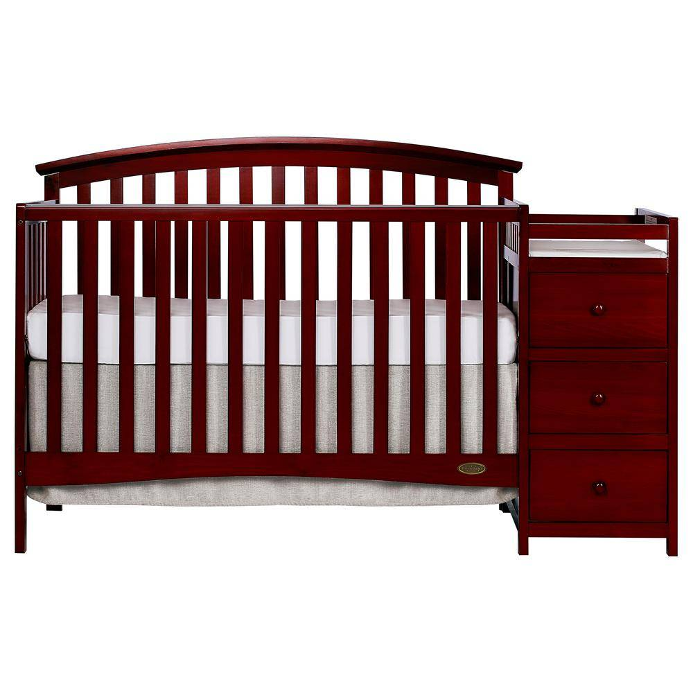 Dream On Me Niko Cherry 5-In-1 Convertible Crib with Changer, Red