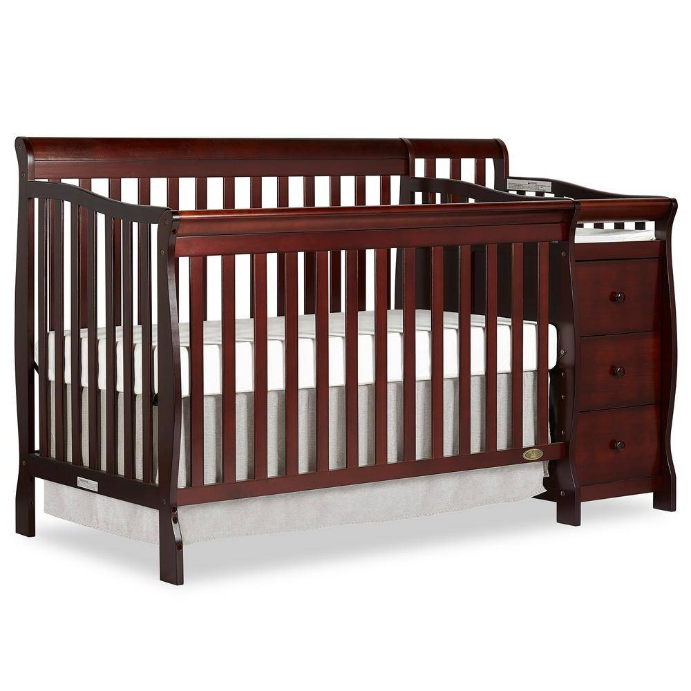 Dream On Me Brody Espresso 5-in-1 Convertible Crib with Changer, Brown