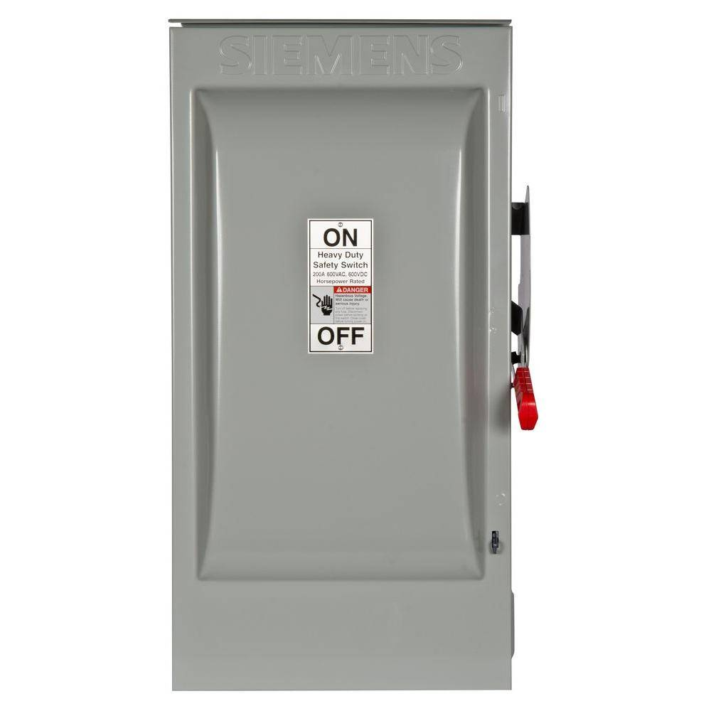 Siemens Heavy Duty 200 Amp 600-Volt 3-Pole Outdoor Fusible Safety Switch