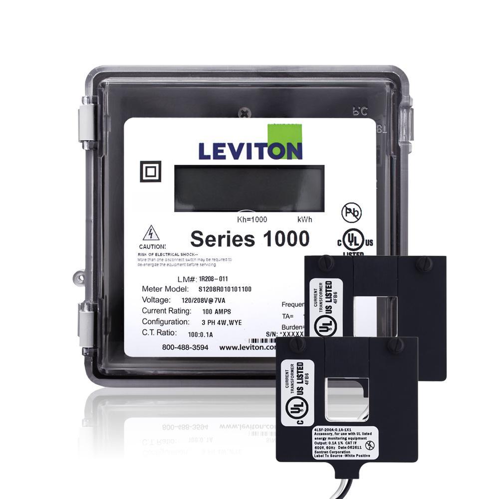 Leviton Series 1000 Single Phase Meter Outdoor Kit, 120/240-Volt 200 Amp 1P3-Watt with 2 Split Core CTs, Gray