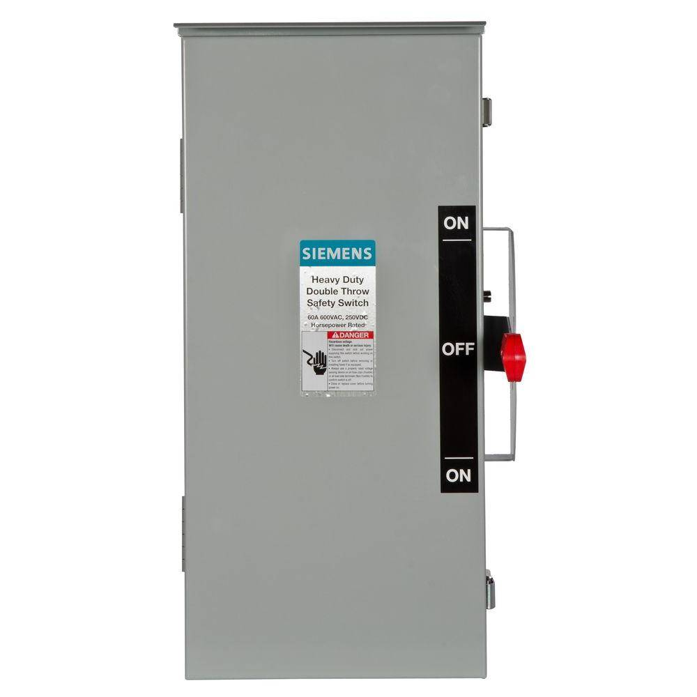 Siemens Double Throw 30 Amp 600-Volt 3-Pole Outdoor Non-Fusible Safety Switch