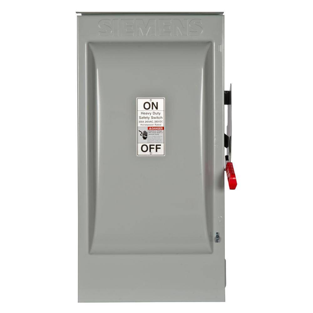 Siemens Heavy Duty 200 Amp 240-Volt 3-Pole Outdoor Fusible Safety Switch with Neutral
