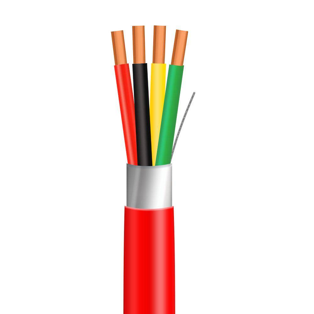 Syston Cable Technology 1,000 ft. 14/4 Red Solid Shielded FPLP UL Fire Alarm Cable