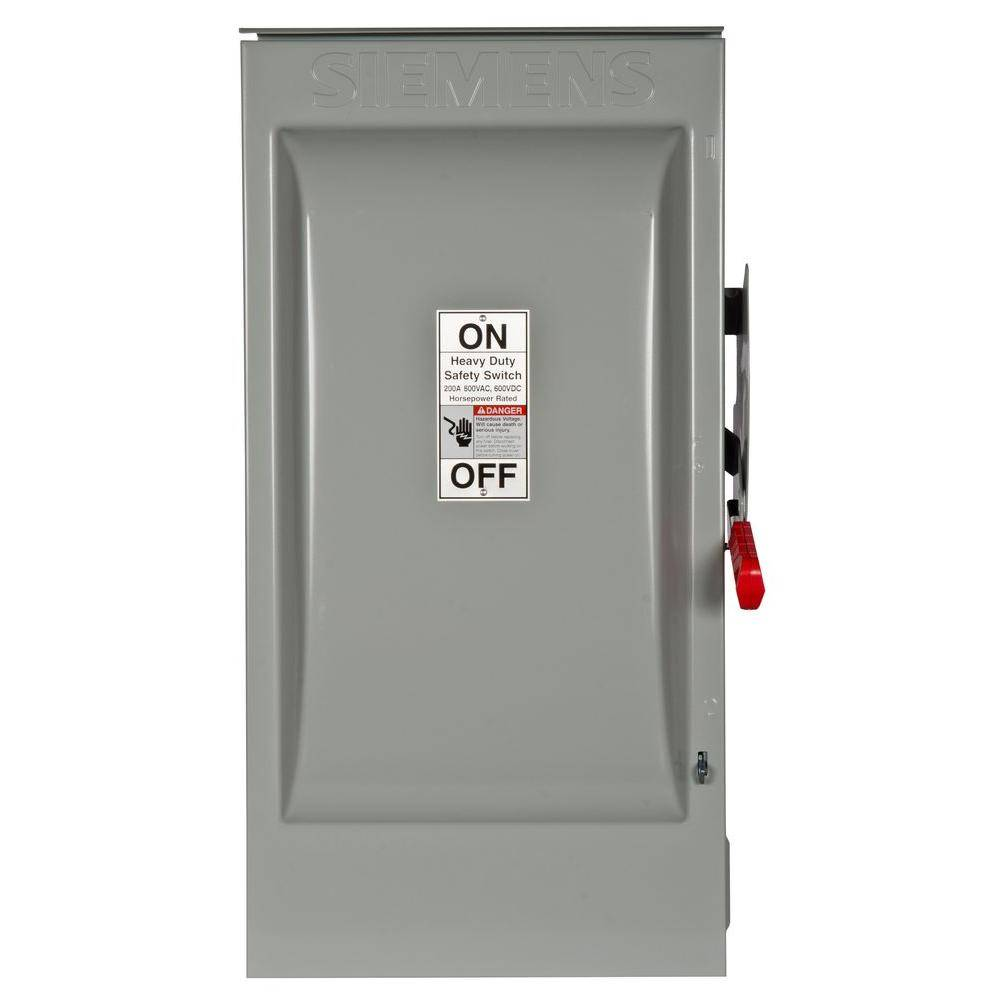 Siemens Heavy Duty 200 Amp 600-Volt 3-Pole Outdoor Fusible Safety Switch with Neutral