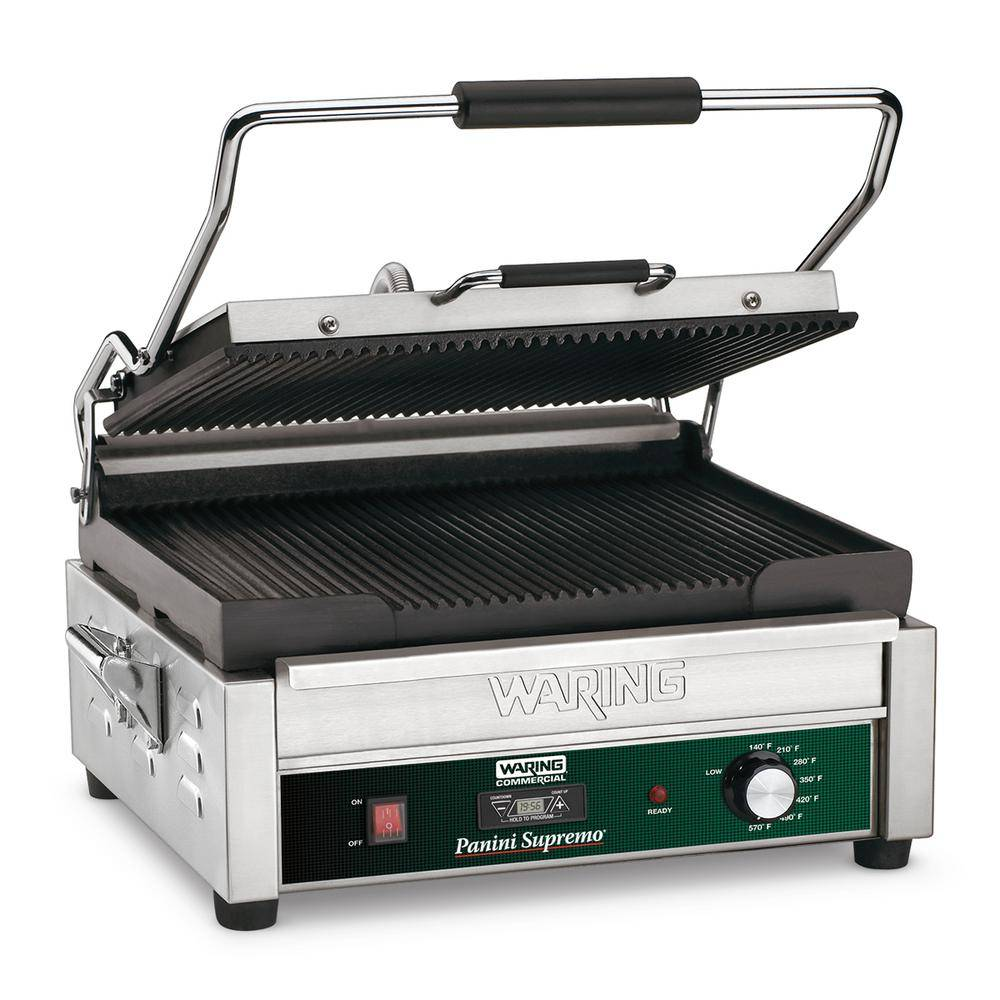 Waring Commercial Silver Panini Supremo Large Panini Grill with Timer - 208-Volt (14.5 in. x 11 in. Cooking Surface)