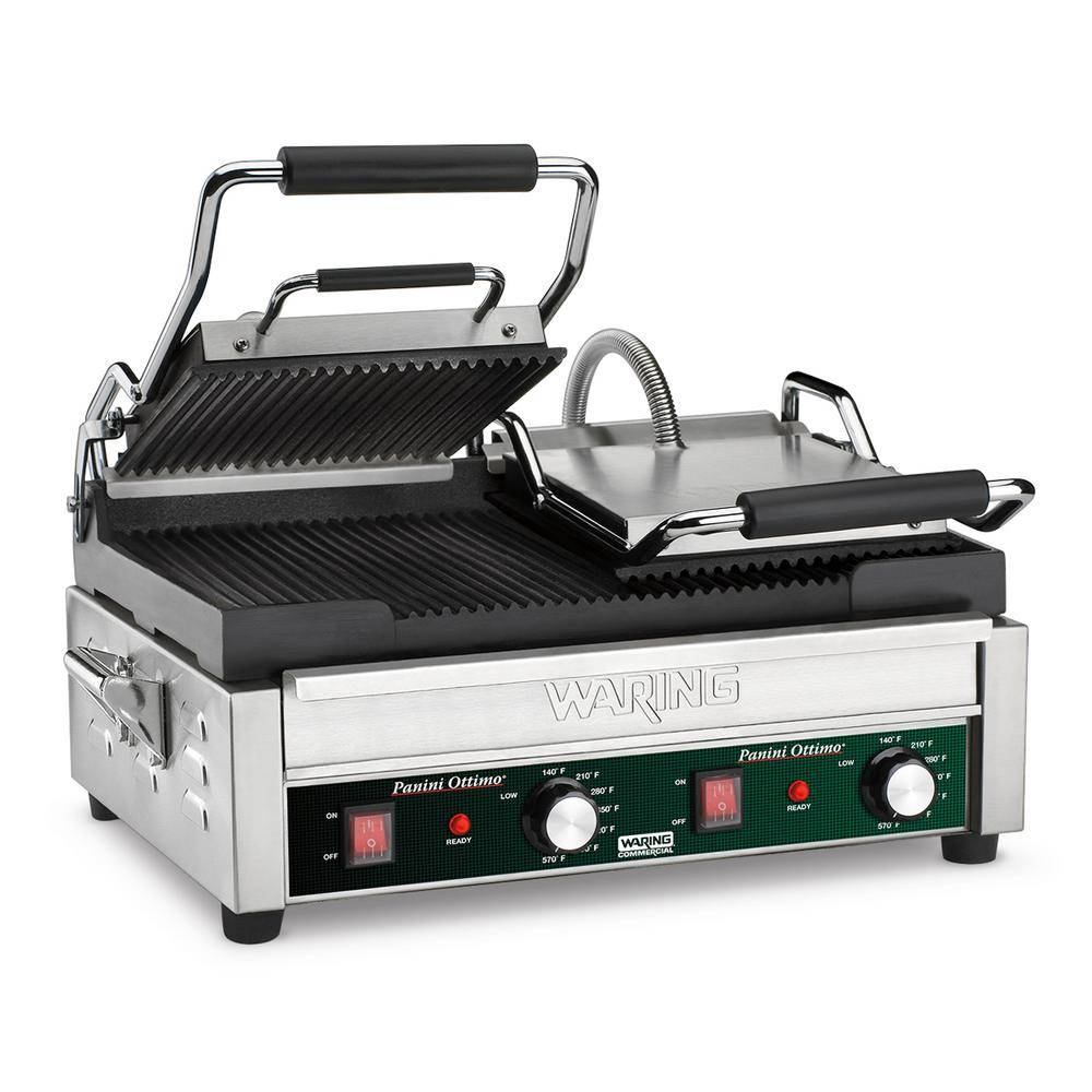 Waring Commercial Panini Ottimo Dual Panini Grill - 240-Volt (17 in. x 9.25 in. cooking surface), Silver