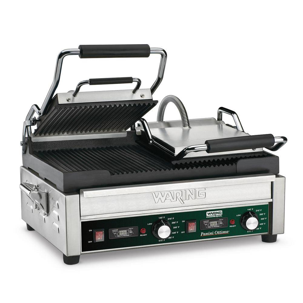Waring Commercial Panini Ottimo Dual Panini Grill with Timer - 240-Volt (17 in. x 9.25 in. cooking surface), Silver