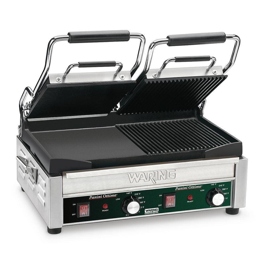 Waring Commercial Dual Grill - Half Panini and Half Flat Grill - 240-Volt (17 in. x 9.25 in. cooking surface), Silver