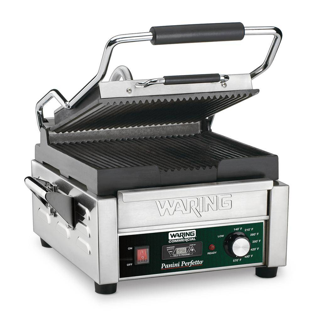 Waring Commercial Panini Perfetto Compact Panini Grill with Timer - 208-Volt (9.75 in. x 9.25 in. cooking surface), Silver