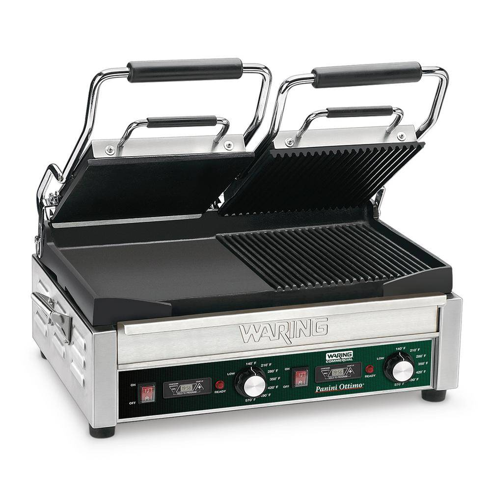 Waring Commercial Dual Grill - Half Panini and Half Flat Grill with Timer - 240-Volt (17 in. x 9.25 in. cooking surface), Silver