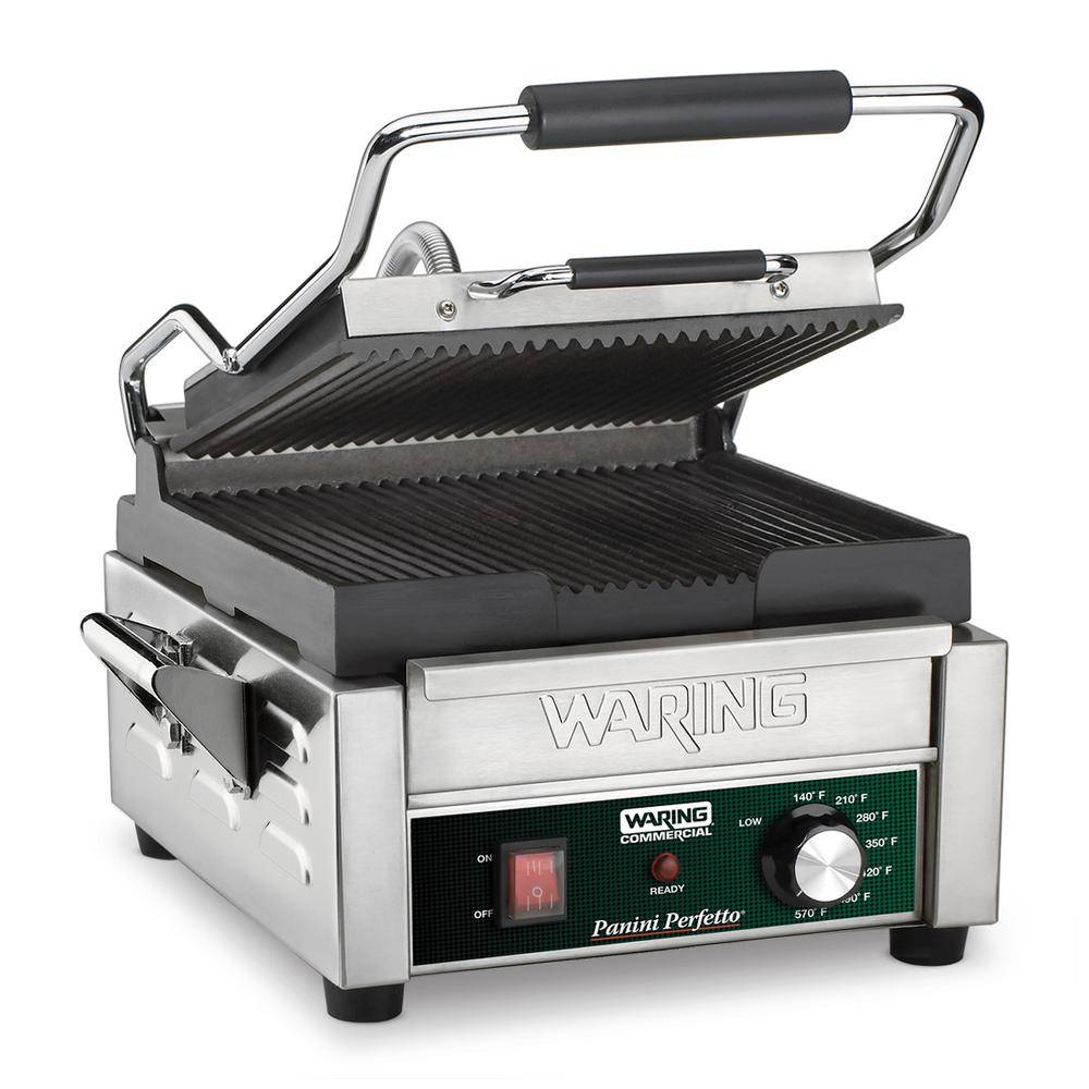Waring Commercial Silver Panini Perfetto Compact Panini Grill - 208-Volt (9.75 in. x 9.25 in. Cooking Surface)