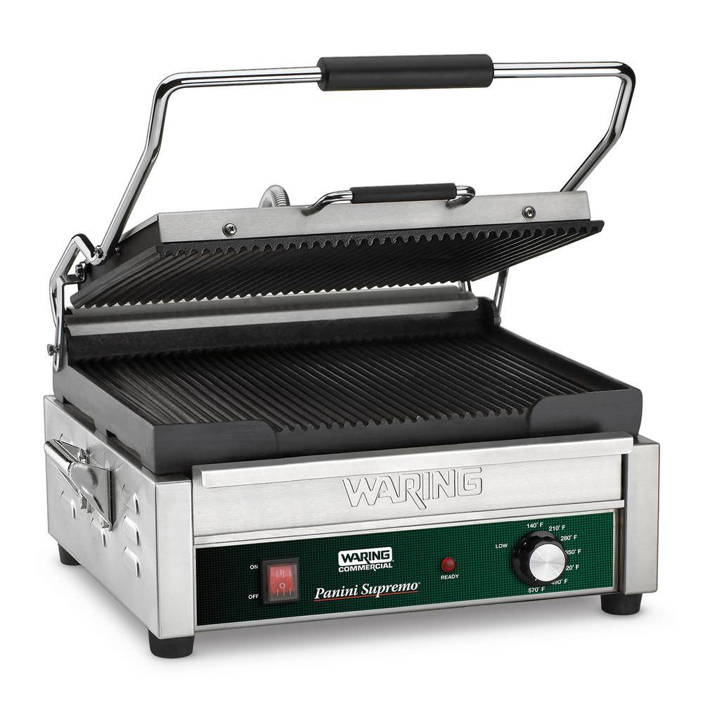 Waring Commercial Silver Panini Supremo Large Panini Grill - 208-Volt (14.5 in. x 11 in. Cooking Surface)