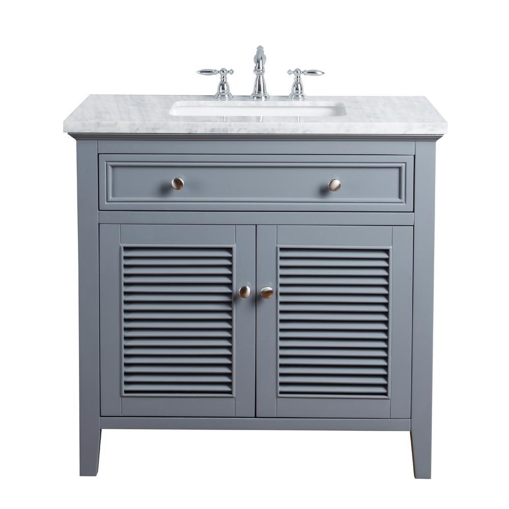 stufurhome 36 in. Genevieve Single Sink Vanity in Gray with Marble Vanity top in Carrara with White Basin