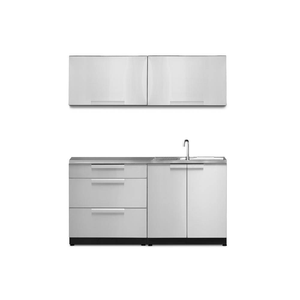 NewAge Products Stainless Steel 5-Piece 64 in. W x 36.5 in. H x 24 in. D Outdoor Kitchen Cabinet Set with Countertop