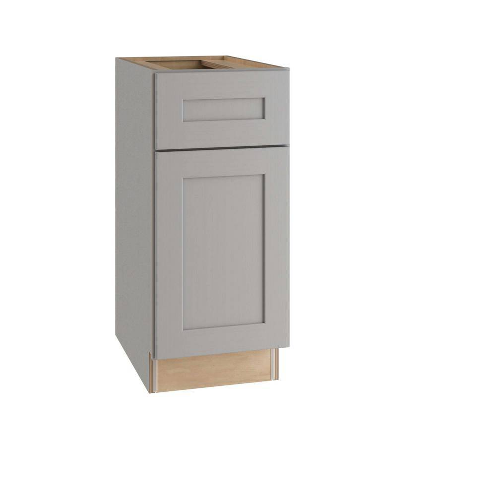 Home Decorators Collection Tremont Assembled 18 x 34.5 x 24 in. Plywood Shaker Base Kitchen Cabinet Left Soft Close in Painted Pearl Gray, Gray Painted