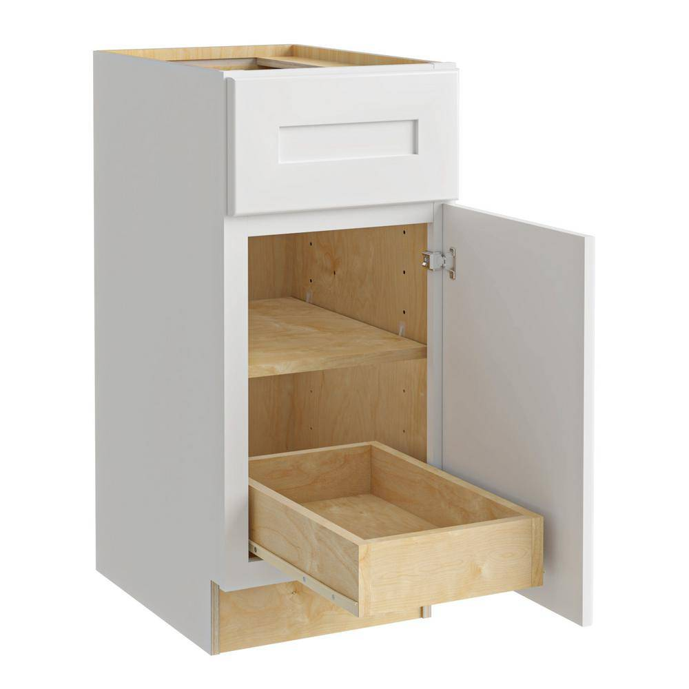 Home Decorators Collection Newport Assembled 12x34.5x24 in. Plywood Shaker Base Kitchen Cabinet Right 1 rollout Soft Close in Painted Pacific White, Pacific White Painted