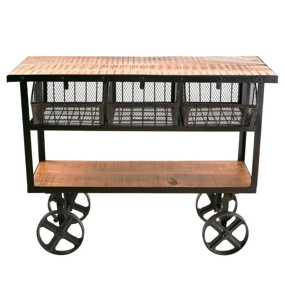 Yosemite Home Decor Distressed Mango Wood Kitchen Cart with Baskets