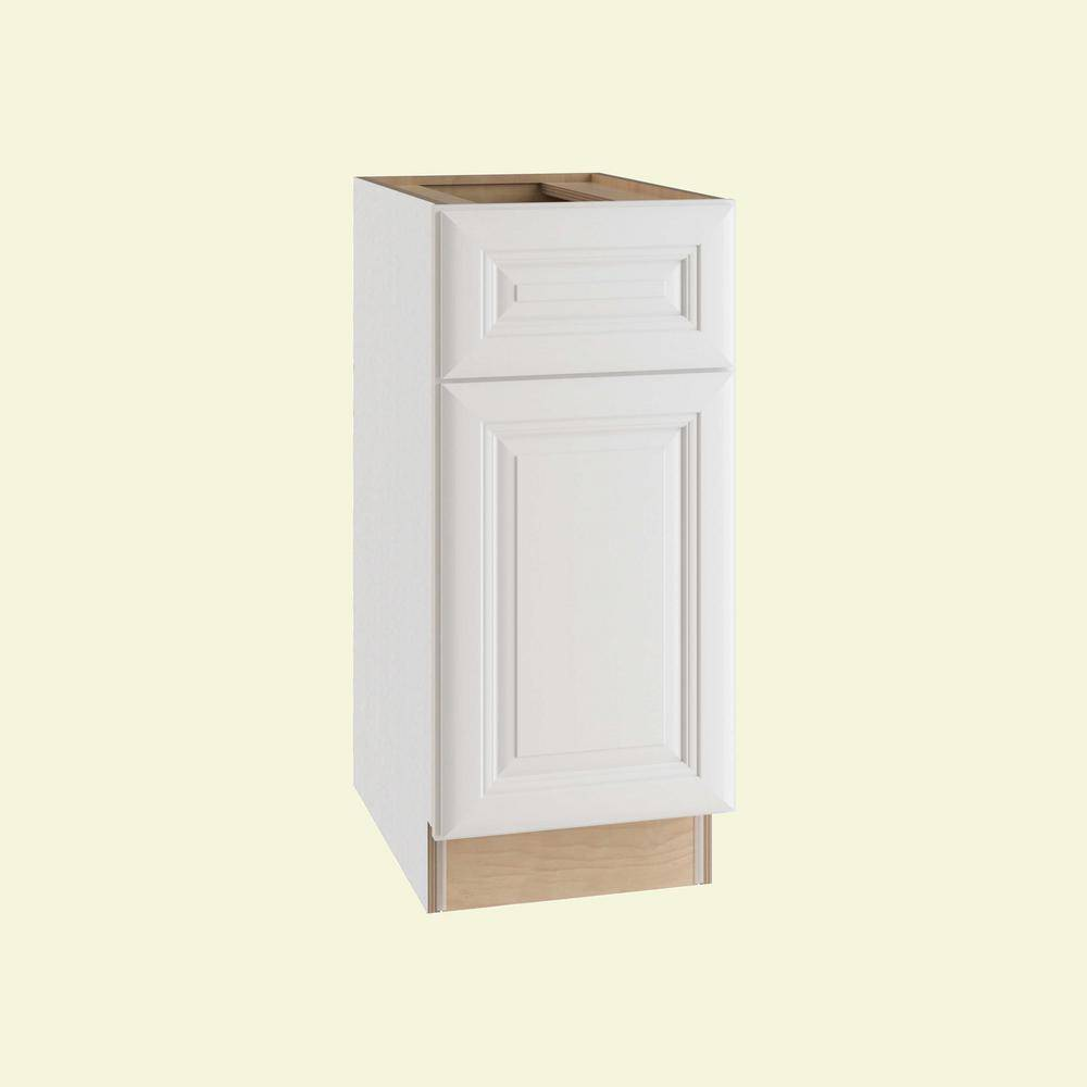 Home Decorators Collection Brookfield Assembled 15x34.5x24 in. Plywood Mitered Base Kitchen Cabinet Right Soft Close in Painted Pacific White