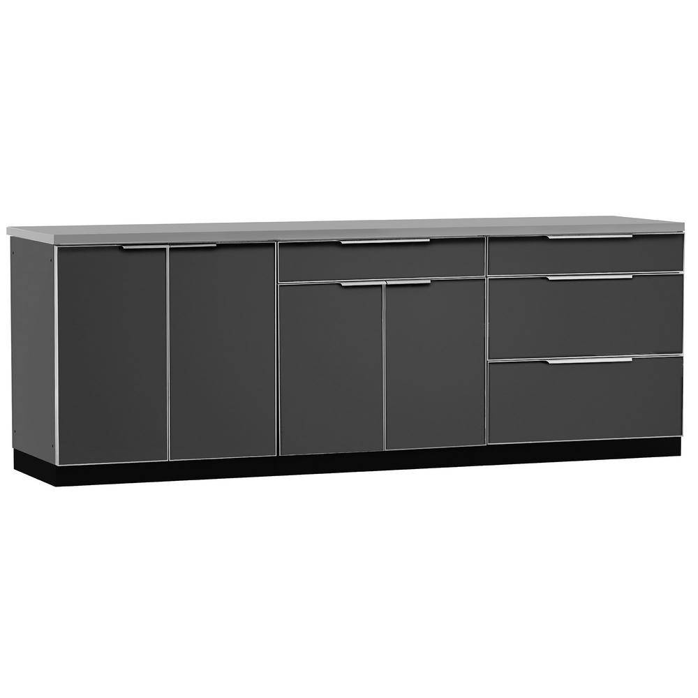 NewAge Products Slate Gray 4-Piece 96 in. W x 36.5 in. H x 24 in. D Outdoor Kitchen Cabinet Set with Covers