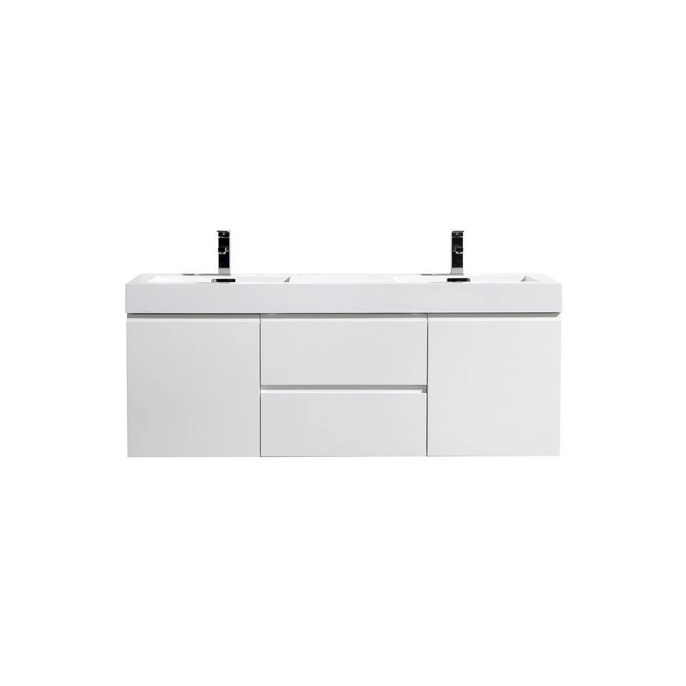 Bathroom Vanities Wholesale Fortune 60 in. W Bath Vanity in High Gloss White with Reinforced Acrylic Vanity Top in White with White Basins