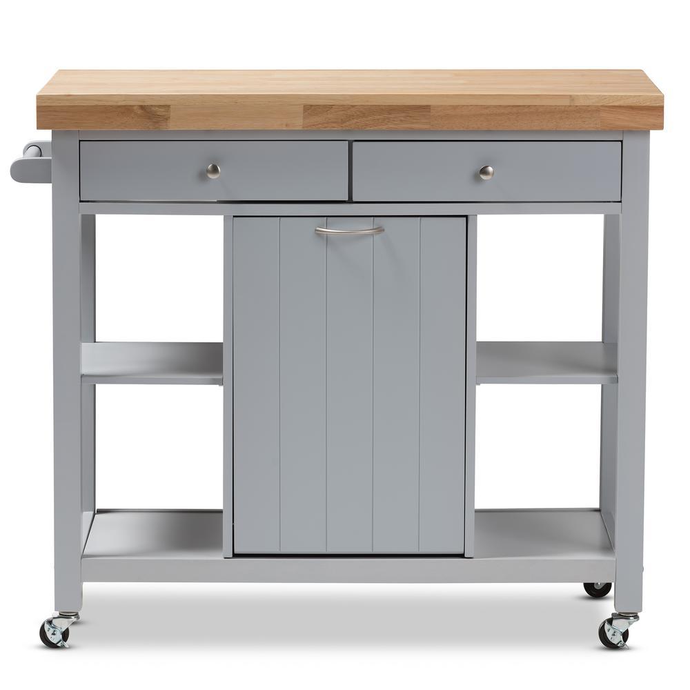 Baxton Studio Hayward Gray Kitchen Cart with Pull Out Garbage Bin